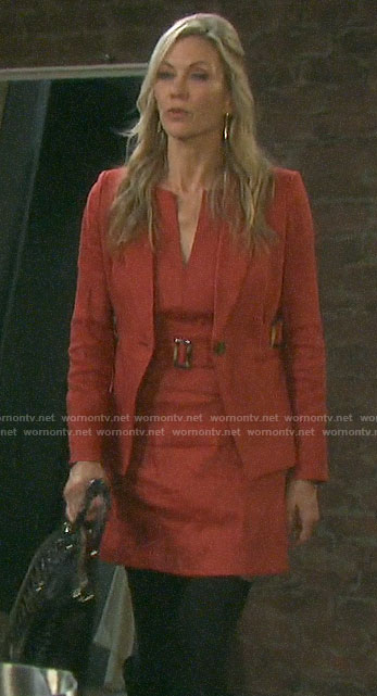Kristen's red belted dress and side buckle blazer on Days of our Lives