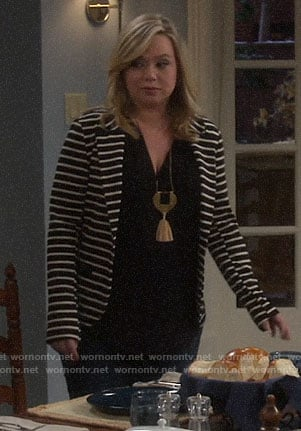 Kristin's striped blazer on Last Man Standing