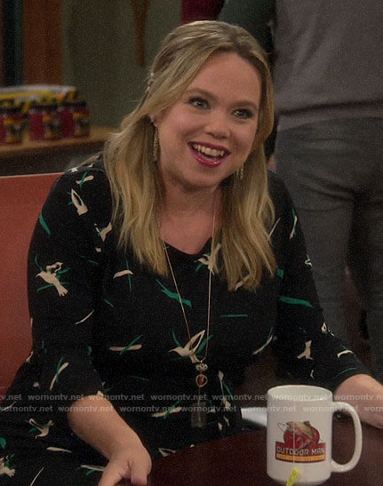 Kristin's black bird print maternity dress on Last Man Standing