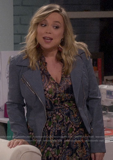 Kristin's paisley print midi dress and blue leather jacket on Last Man Standing