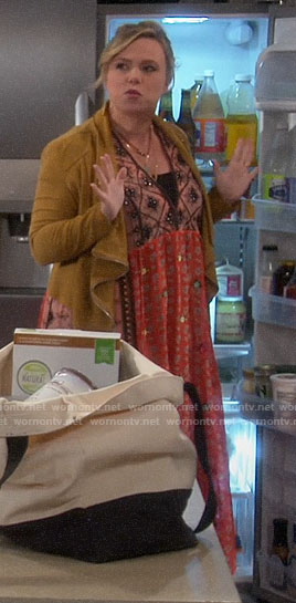Kristin's mixed floral dress and camel suede jacket on Last Man Standing