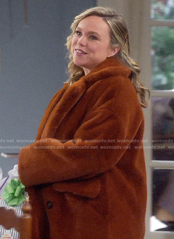 Kristin's brown fur coat on Last Man Standing