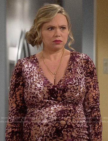 Kristin's leopard print velvet maxi dress on Last Man Standing