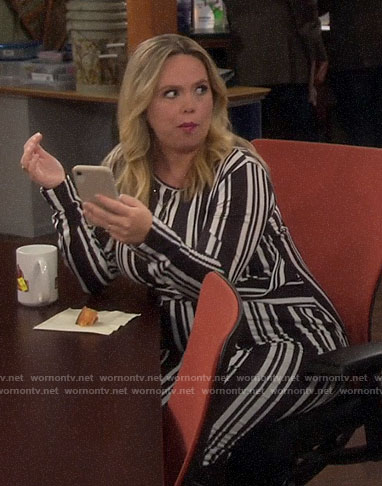 Kristin's black and white striped maternity dress on Last Man Standing
