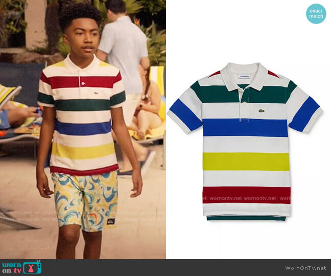 Lacoste Striped Polo Shirt worn by Jack Johnson (Miles Brown) on Blackish