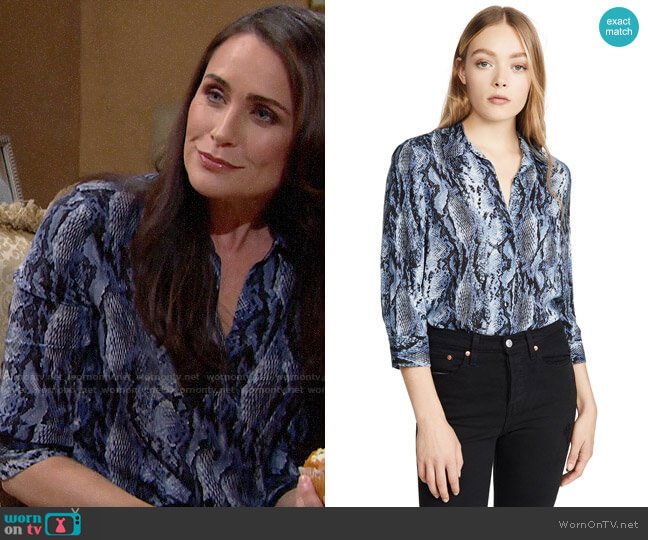 L'Agence Ryan Blouse in Myst Salvadora worn by Quinn Fuller (Rena Sofer) on The Bold & the Beautiful