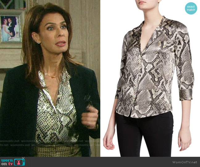 L'Agence Aoki Snake Blouse worn by Hope Williams (Kristian Alfonso) on Days of our Lives