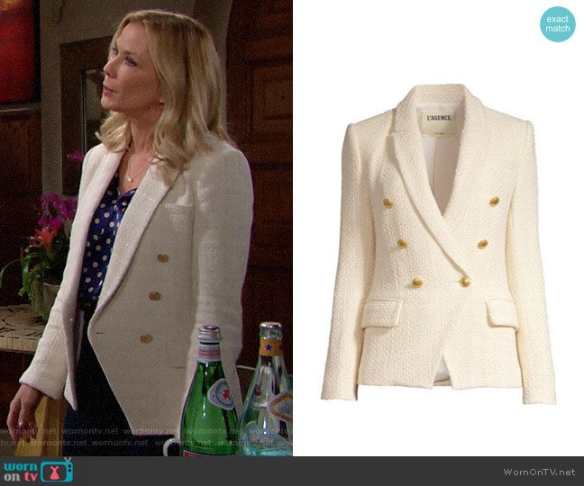 L'Agence Kenzie Tweed Blazer worn by Brooke Logan (Katherine Kelly Lang) on The Bold & the Beautiful