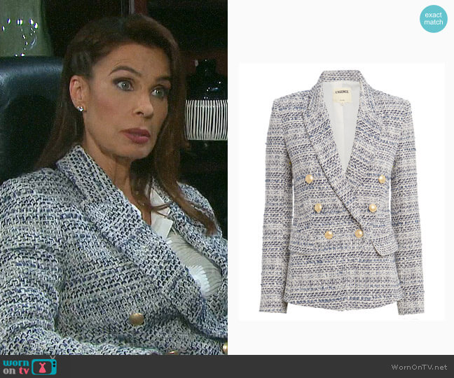 L'Agence Kenzie Tweed Double Breasted Blazer worn by Hope Williams (Kristian Alfonso) on Days of our Lives