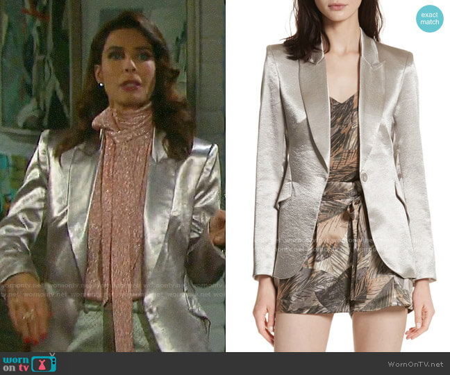 L'Agence Chamberlain Metallic Blazer worn by Hope Williams (Kristian Alfonso) on Days of our Lives