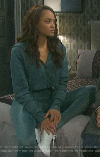 Lani's teal cropped hoodie and leggings on Days of our Lives