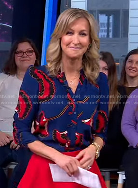 Lara's blue floral blouse on Good Morning America