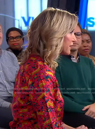 Lara's red animal print shirt on Good Morning America
