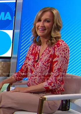 Lara's red abstract print blouse on Good Morning America