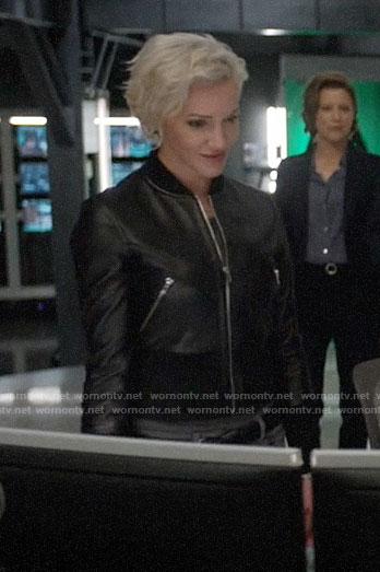 Felicity's long blue fur coat on Arrow