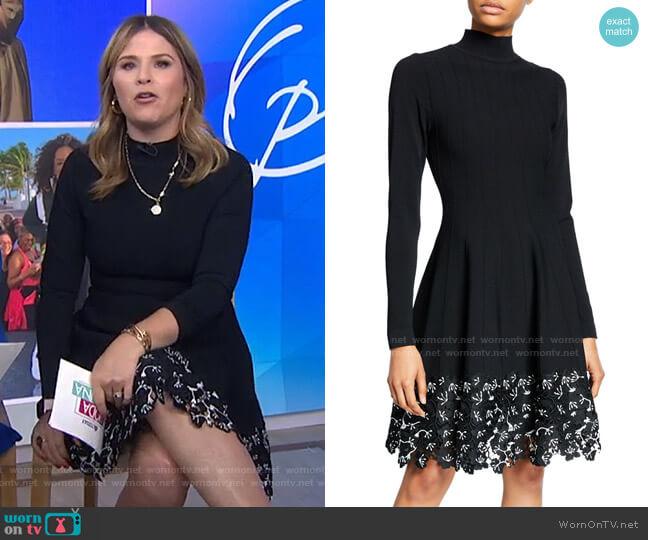 Turtleneck Lace Hem Knit Dress by Lela Rose worn by Jenna Bush Hager  on Today