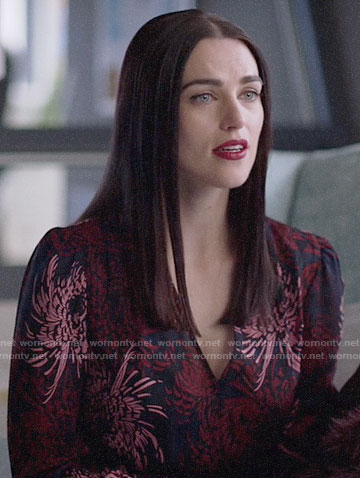 Lena's floral print v-neck dress on Supergirl