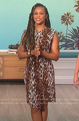 Eve's leopard print asymmetric dress on The Talk