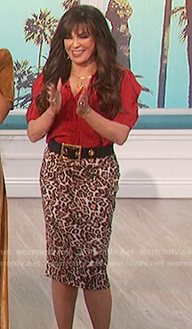 Marie's red puff sleeve top and leopard print skirt on The Talk
