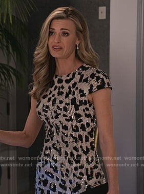 Chelsea's leopard sequin dress on Grace and Frankie