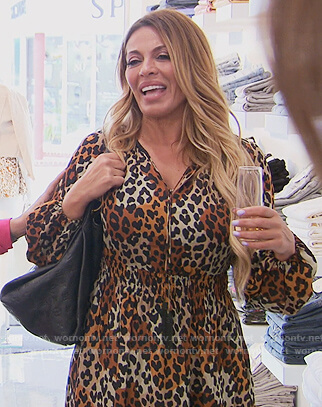 Dolores's leopard print tie dress on The Real Housewives of New Jersey
