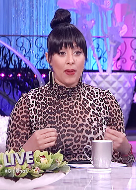Tamera's leopard print mock neck top on The Real