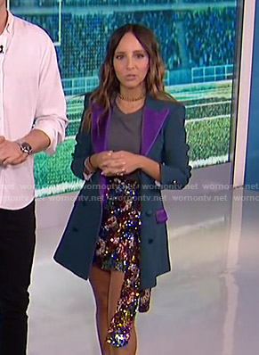 Lilliana's green and purple contrast blazer and sequin skirt on E! News
