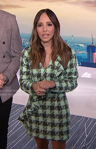 Lilliana's green ruffled tweed dress on E! News