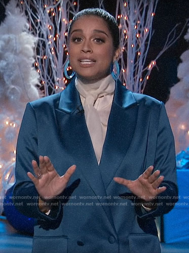 Lilly Singh's blue satin double-breasted blazer on A Little Late with Lilly Singh