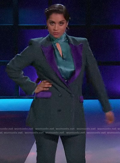 Lilly Singh's green and purple blazer on A Little Late with Lilly Singh