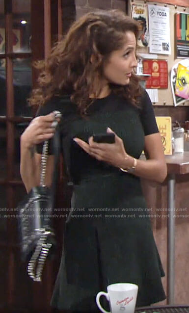 Lily's green and black textured dress on The Young and the Restless