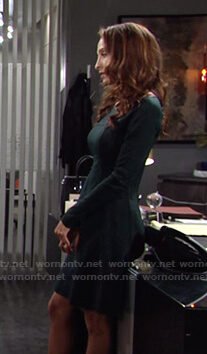 Lily's green long sleeved dress on The Young and the Restless