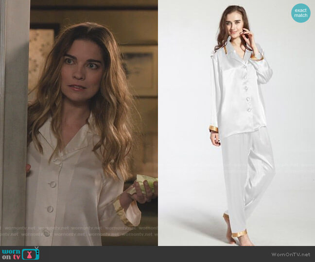 22 Momme Gold Cuff Silk Pajama by Lily Silk worn by Alexis Rose (Annie Murphy) on Schitts Creek