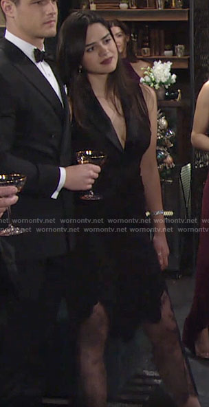 Lola's black NYE dress on The Young and the Restless