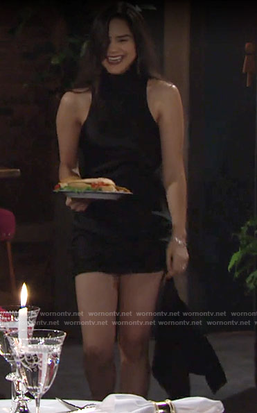 Lola's black side drape mini dress on The Young and the Restless