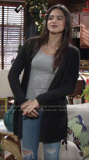 Lola's cardigan with lace-up sides on The Young and the Restless