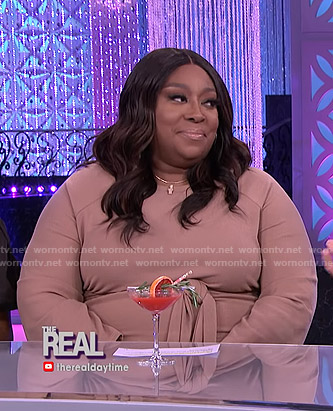 Loni's beige tie waist dress on The Real