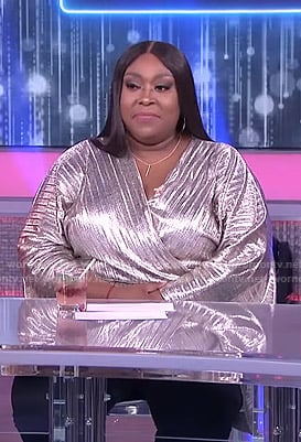 Loni's metallic pleated wrap top on The Real