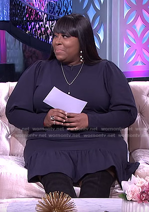 Loni's navy ruffle hem dress on The Real