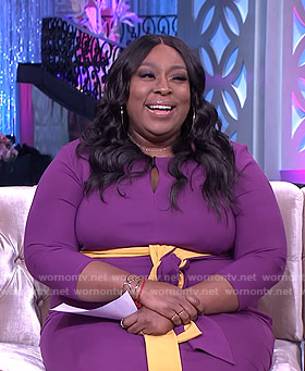 Loni's purple keyhole dress on The Real