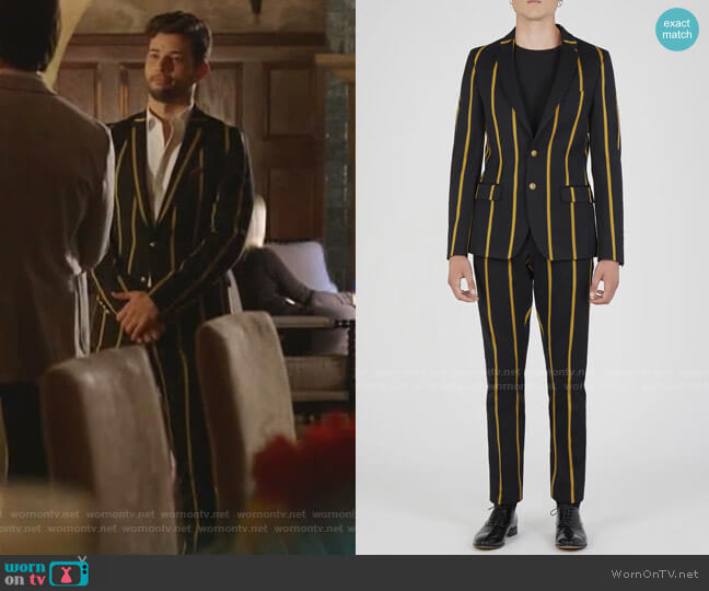 Black Jacket with Yeollow Stripes and Pants by Lords and Fools worn by Sam Flores (Rafael de la Fuente) on Dynasty