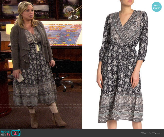 Lucky Brand Paisley & Floral Wrap Dress worn by Kristin Baxter (Amanda Fuller) on Last Man Standing