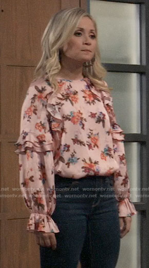Lulu's pink floral ruffled blouse on General Hospital