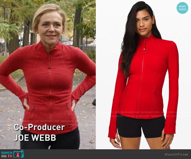 Lululemon Define Jacket in Dark Red worn by Susan (Rachel Bay Jones) on God Friended Me