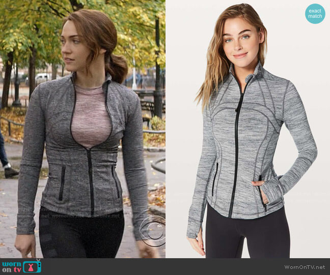 Lululemon Define Jacket in Space Dye Camo Seal Grey Deep Coal worn by Cara Bloom (Violett Beane) on God Friended Me
