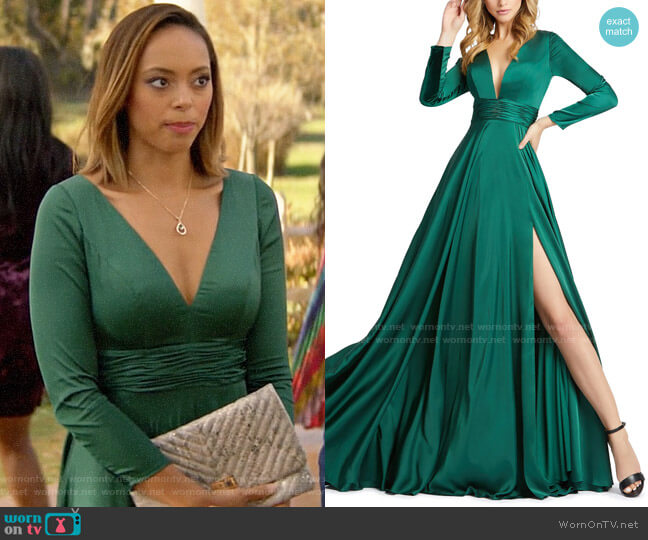 Mac Duggal V-Neck Long-Sleeve Satin Thigh-Slit Gown worn by Julia on God Friended Me