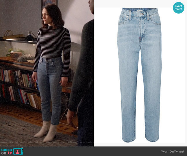 Madewell The Curvy Perfect Vintage high-rise straight-leg jeans worn by Cara Bloom (Violett Beane) on God Friended Me