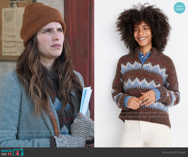 Madewell Stowe Fair Isle Half-Zip Sweater worn by Rio (Lake Bell) on Bless This Mess