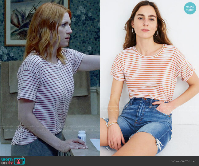 Madewell Whisper Cotton Crewneck Tee in Greywood Stripe worn by Julia Bechley (Brittany Snow) on Almost Family