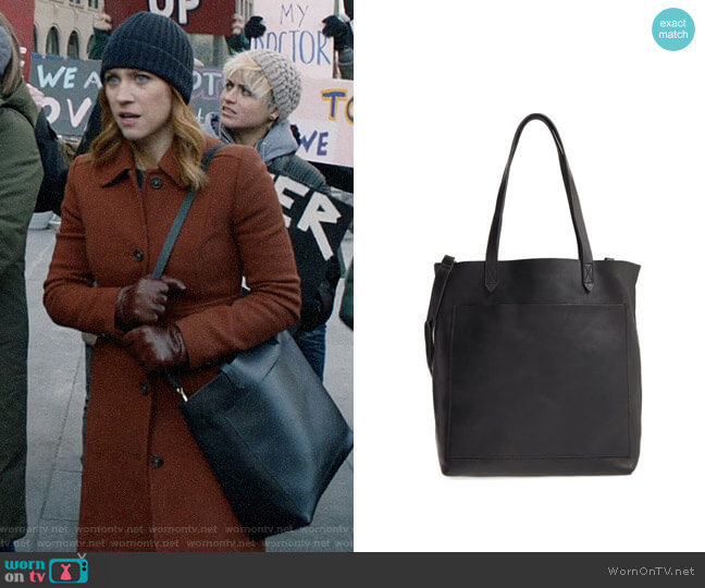 Madewell Medium Leather Transport Tote worn by Julia Bechley (Brittany Snow) on Almost Family